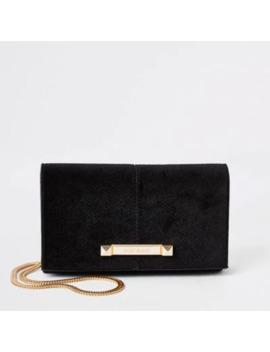 Black Velvet Boxy Mini Cross Body Bag by River Island