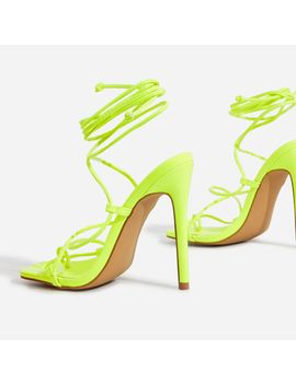 Paris Square Toe Lace Up Heel In Lime Green Patent by Ego