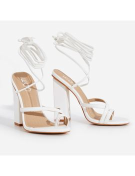 Elsa Lace Up Toe Strap Block Heel In White Faux Leather by Ego