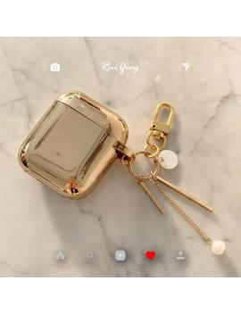 luxury-gold-airpods-apple-case-,-cute-shiny-metal-with-pearl-keychain,-silicone-bluetooth-wireless-earphone-cover-2-3 by etsy