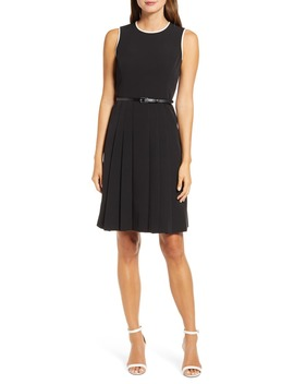 piped-detail-belted-fit-&-flare-dress by anne-klein