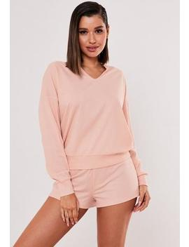 blush-rib-soft-touch-loungewear-set by missguided