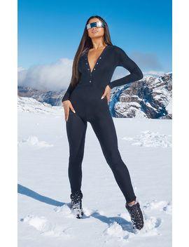 black-rib-popper-detail-long-sleeve-jumpsuit by prettylittlething