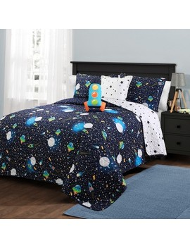 universe-quilt-set-with-spaceship-throw-pillow-navy---lush-decor by shop-this-collection