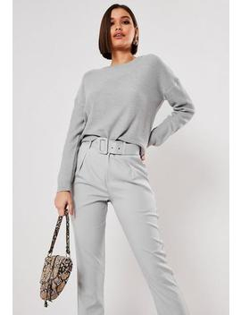 grey-oversized-crew-neck-balloon-sleeve-jumper by missguided