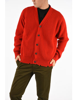 Wool Blend Ribbed Cardigan by Msgm