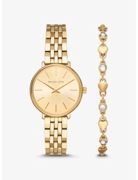 mini-pyper-gold-tone-watch-and-heart-link-bracelet-set by michael-kors