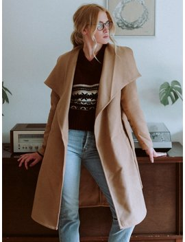 Womens Phoebe Drapy Coat   Camel by Onlyonly