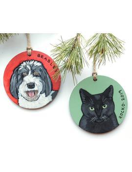 pet-ornament-personalized,-custom-pet-ornament,-dog-portrait-gift,-cat-ornament-wood,-pet-portrait-ornament,-pet-gift,-hand-painted-ornament by etsy