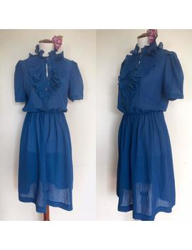 sweet-sheer-70s-pinstripe-tuxedo-ruffle-dress by etsy