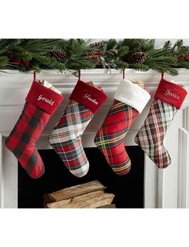 Plaid Stockings by Pottery Barn