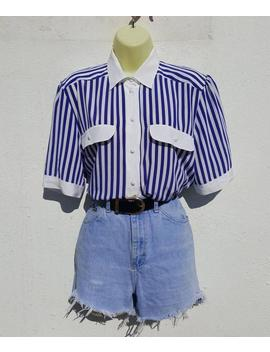 vintage-1990s-jacques-vert-royal-blue-white-vertical-striped-print-blouse-shirt-top-contrast-collar-uk-size-12-14-m by etsy