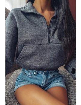 Charcoal Zip Up Front Detail Sweatshirt by Lasula