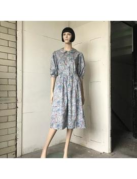 1980s---floral---ditsy-print---liberty-print---midi-dress---puff-sleeve---peter-pan-collar---cotton-summer-dress by etsy