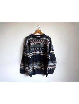 vintage-90s-crew-neck-jumper-mens-xl-oversize-fair-isle-aztec-geometric-pattern-striped-wool-&-acrylic-blue-grey-purple-green-white-beige by etsy