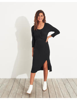Twist Front Ribbed Knit Midi Dress by Hollister