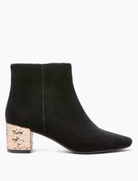 velvet-block-heel-ankle-boots by marks-&-spencer