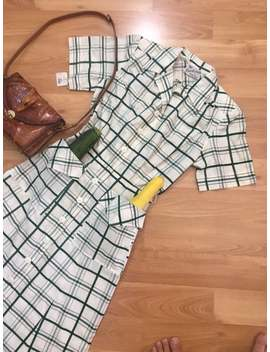 vintage-1940s-dress-__-40s-deadstock-sportswear-__-white-green-plaid-__-size-xs by etsy