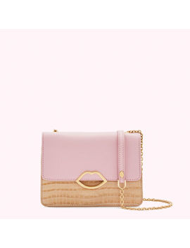 Almond And Blossom Croc Leather Polly Clutch Bag by Lulu Guinness