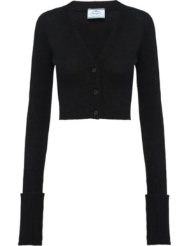 cropped-rib-knit-cardigan by prada