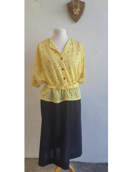 vintage-dress-80s-yellow-black-spotted-peplum-dress-plus-size-vintage-dress-size-xxl by etsy