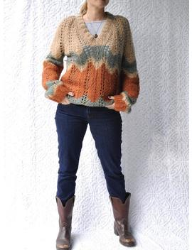 1970s-knit-sweater-|-loose-knit-sweater-with-v-neck-|-70s-hippie-sweater-|-boho-knit-jumper-|-oversized-bohemian-sweater-|-1970s-sweater by etsy
