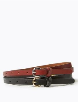 2 Pack Leather Skinny Hip Belts by Marks & Spencer