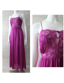 vintage-70s-lily-of-france-boho-magenta-maxi-nightgown-s by etsy