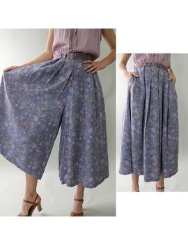 vtg-80s-liz-floral-garden-print-skorts-skirt-pantaloons-coulottes-gauchos-m by etsy