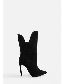 black-curved-top-heeled-ankle-boots by missguided
