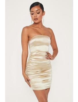 Bernadette Strapless Ruched Side Dress   Champagne by Meshki