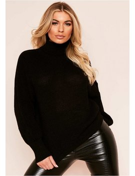 della-black-balloon-sleeve-roll-neck-knitted-jumper by missy-empire