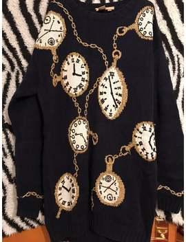 amazing-1980s-novelty-clock-print-oversized-sweater-jumper-dress by etsy