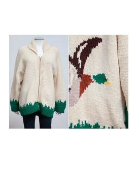 vintage-1960s-cowichan-hand-knitted-duck-cardigan-sweater-•-grandpa-sweater-•-duck-hunting-sweater-•-starsky-and-hutch-sweater by etsy