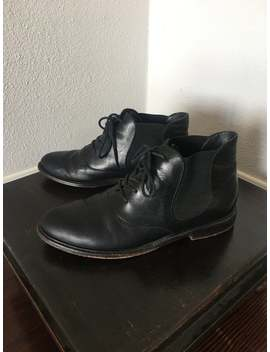 black-leather-lace-up-oxfords-size-85 by etsy