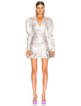 wrap-effect-metallic-mini-dress by rotate