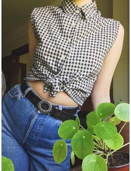90s-esprit-black-and-white-gingham-tie-up-tank-|-medium by etsy
