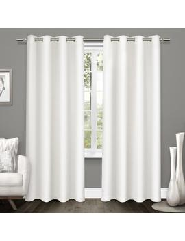 tweed-52-in-w-x-96-in-l-woven-blackout-grommet-top-curtain-panel-in-winter-white-(2-panels) by home-depot
