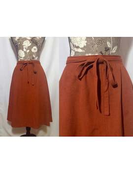 vintage-1970s-skirt-__-size-small---medium-__-70s-suede-burnt-orange-autumn-fall-bow-tie-boho-midi by etsy