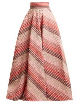 striped-jacquard-panelled-skirt by luisa-beccaria