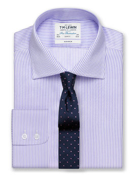 Non Iron Lilac Bengal Stripe Slim Fit Shirt by T.M.Lewin