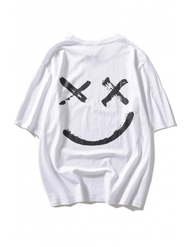 popular-smile-face-pattern-round-neck-unisex-casual-oversized-t-shirt by beautiful-halo