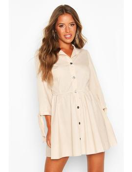petite-button-through-smock-dress by boohoo