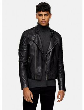 Black Collarless Leather Biker Jacket by Topman