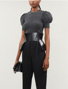 puff-sleeved-crystal-embellished-wool-blend-jumper by alexander-mcqueen