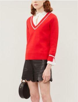 makyh-chiffon-frilled-cuff-stretch-knit-jumper by claudie-pierlot