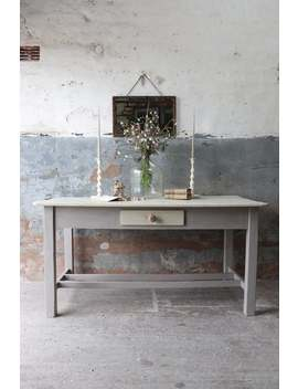 5ft-long-painted-vintage-pine-farmhouse-kitchen-serving-table-in-pastille-grey-and-linen by etsy