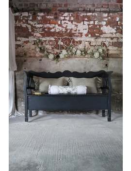 striking-large-charcoal-painted-pine-bench-seat-with-storage by etsy
