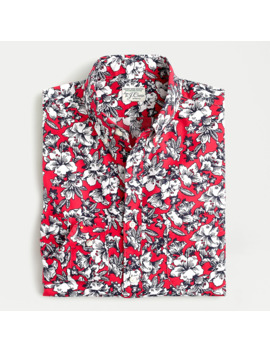 Untucked Stretch Secret Wash Shirt In Morning Glory Print Organic Cotton by J.Crew