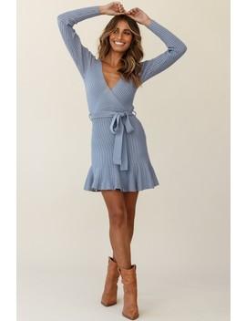 Tarry Long Sleeve Fluted Hem Knit Dress Midnight Blue by Selfie Leslie